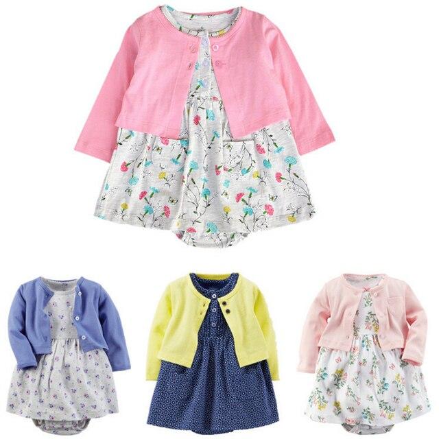 2016 весна осень детские девушки floal свитер кардиган + хлопок платье набор младенческая симпатичные толстовка принцесса комплект Одежды Младенца