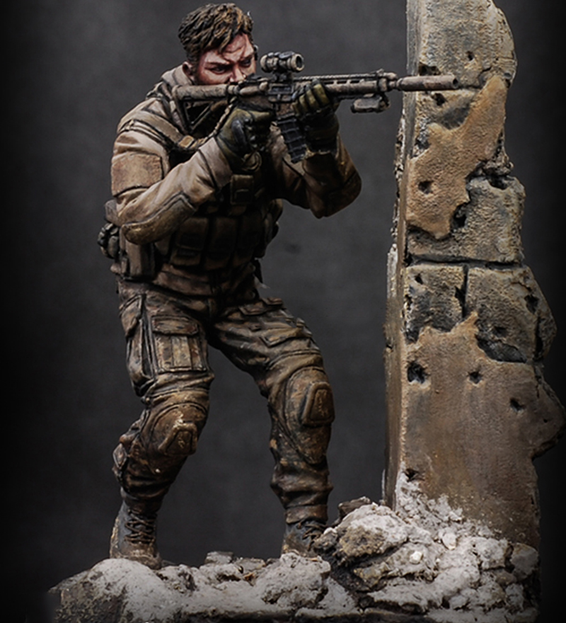 Assembly Unpainted  Scale 1/24 75mm  Us Officer Attack Soldier 75mm Historical Toy Resin Model Miniature Kit