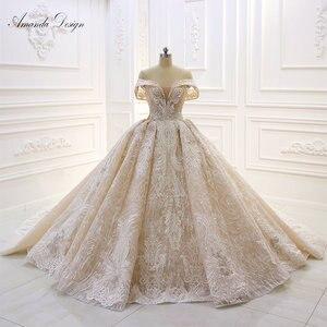 Image 2 - אמנדה עיצוב robe לונג soiree כבוי כתף תחרה Appliqued קריסטל שמפניה חתונה שמלה