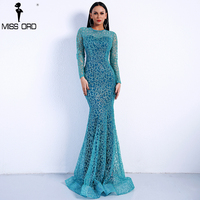 Missord 2018 Sexy Spring And Summer O Neck Long Sleeve Pattern Glitter Women Slim Maxi Elegant