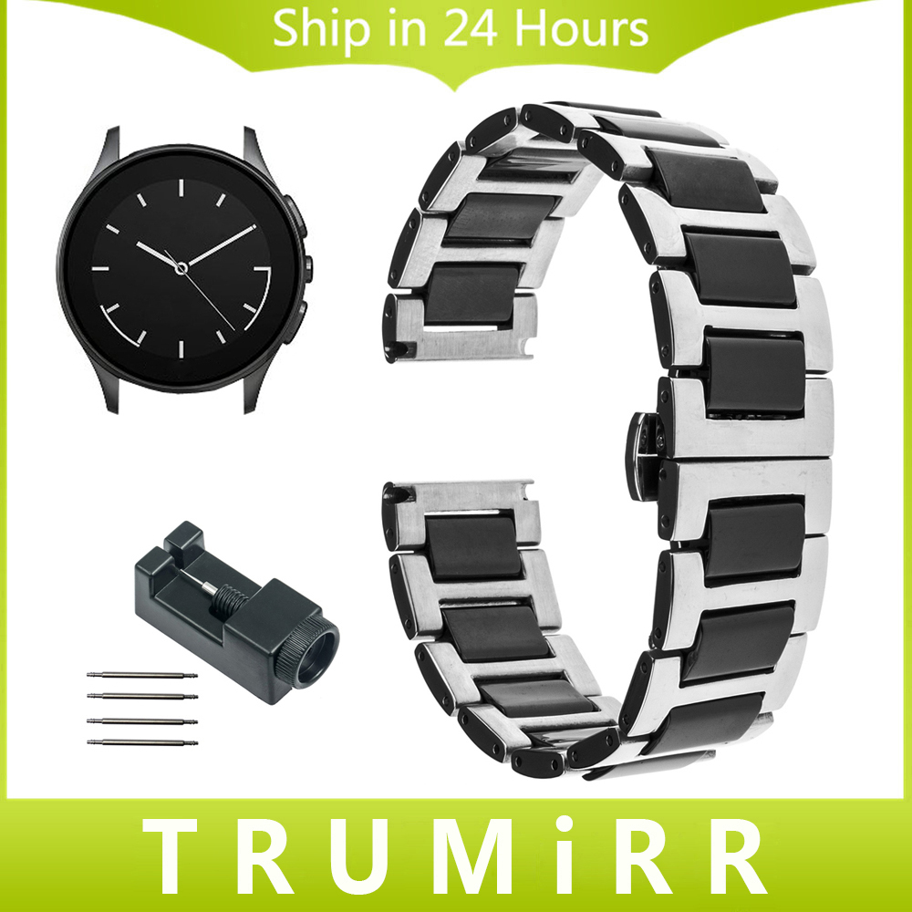 22mm Ceramic & Stainless Steel Watchband + Link Remover for Vector Luna Meridian Watch Band Butterfly Clasp Strap Wrist Bracelet for samsung gear s2 classic black white ceramic bracelet quality watchband 20mm butterfly clasp