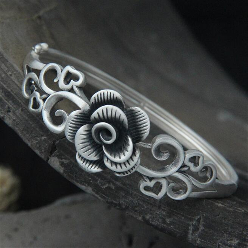 1PCS Hot Selling Women Hollow Peony Flower Thai Silver Bracelet 990 Sterling Silver Cuff Bangles For Women Fashion Jewelry delicate solid color multi layered hollow out cuff bracelet for women