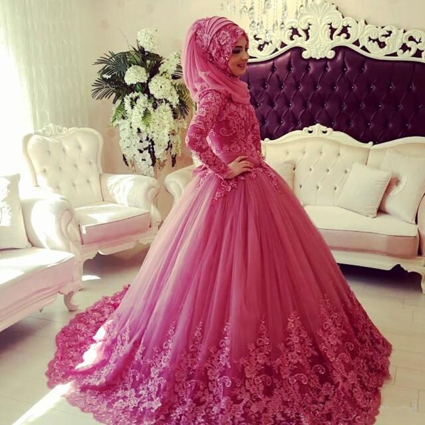 2016 Muslim Wedding Dresses Long Sleeves High Neck Lace Applique ...