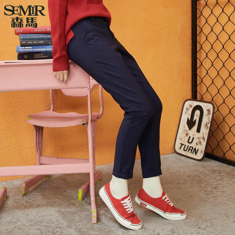 SEMIR женские брюки 2018 зимние узкие брюки тонкие повседневные женские Стрейчевые брюки черные Nine-cent брюки модные классные