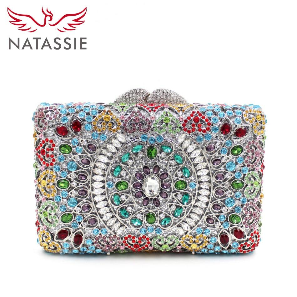 ФОТО NATASSIE Crystal Evening Bag Colourful Diamonds Clutch Bag Fashion Girls Party Handbags Three Colours Available