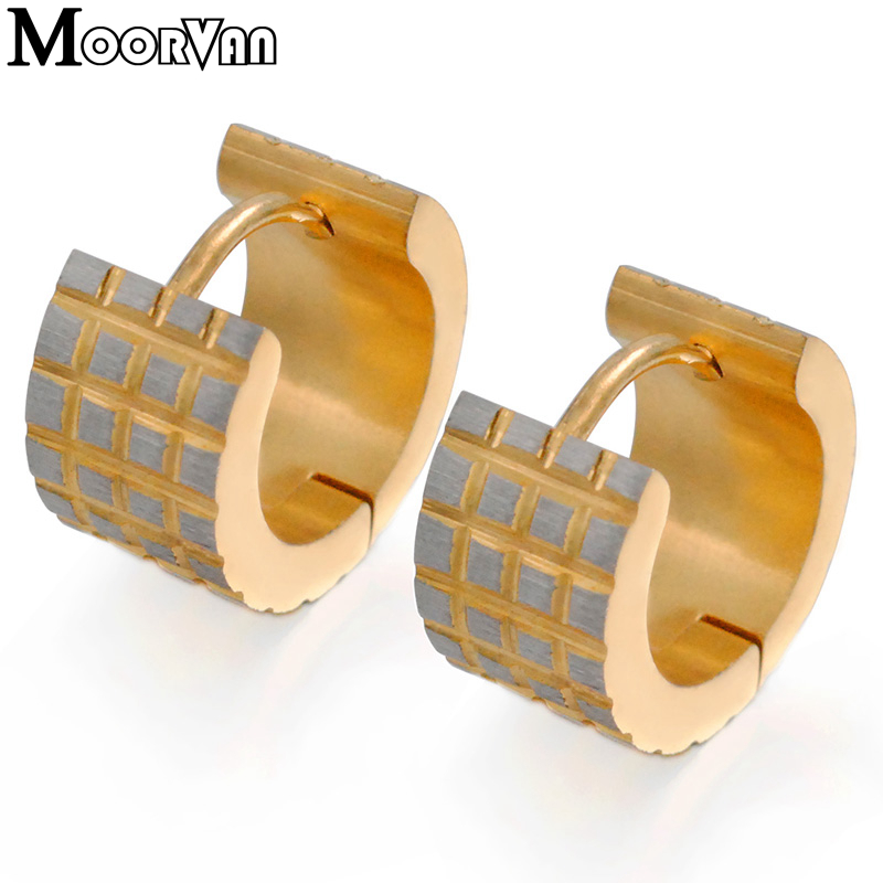 Moorvan Wholesale price ! stainless steel men earrings gold-color metal fashion gothic stud jewelry for man VE010