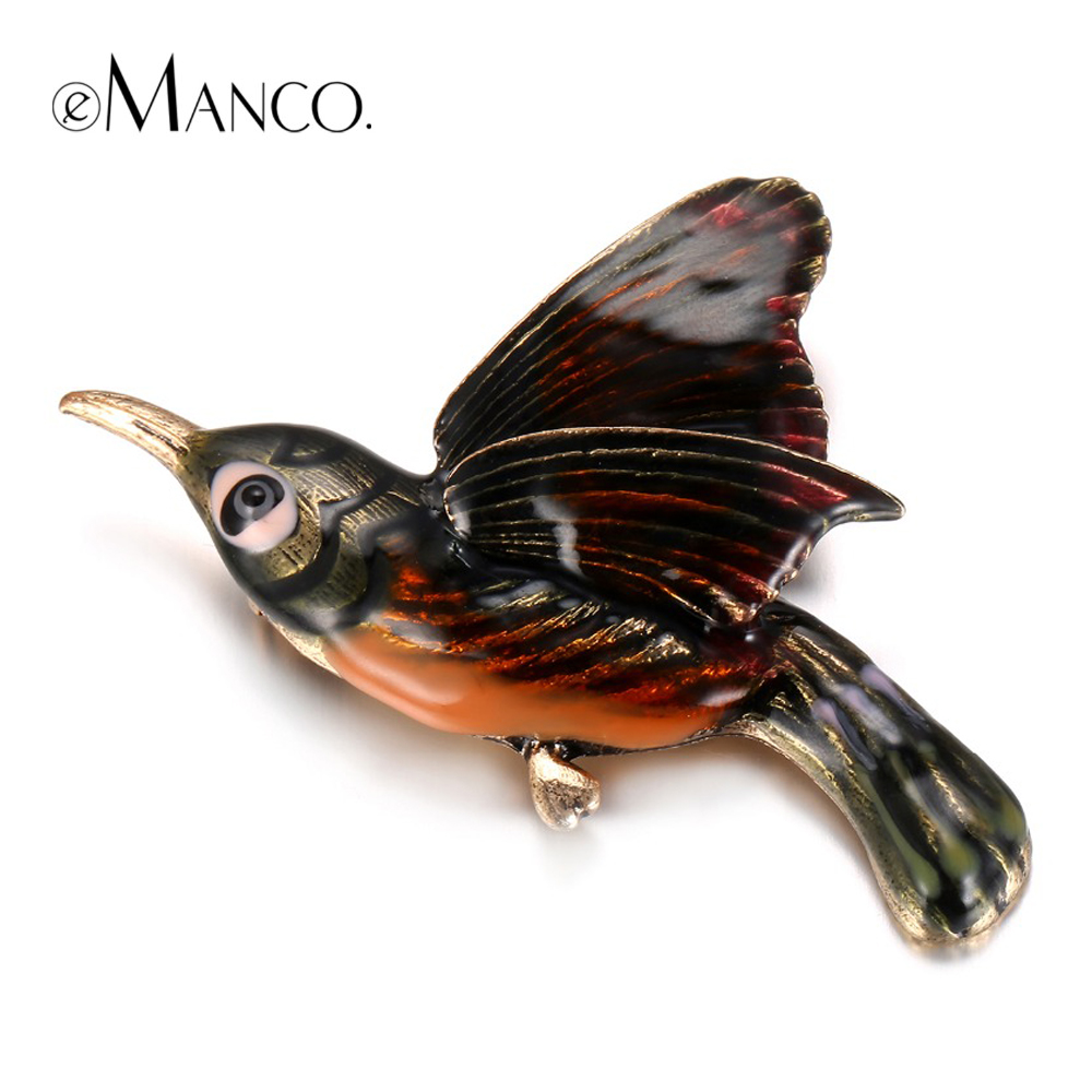 eManco Trendy Chic Charming Cute Enamel Bird Brooches Pins for Women Gold Plated Banquet Decoration Fashion
