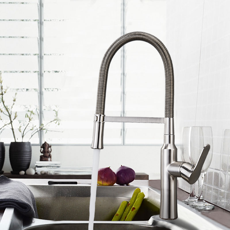 Chrome/Brushed Nickel Spring Kitchen Sink Faucet Sprayer Stream Spout Pull Down Kitchen Mixers Deck Mounted Hot and Cold Tap good quality brushed nickel kitchen faucet deck mounted hot and cold water pull out sstream sprayer spout kitchen mixer tap