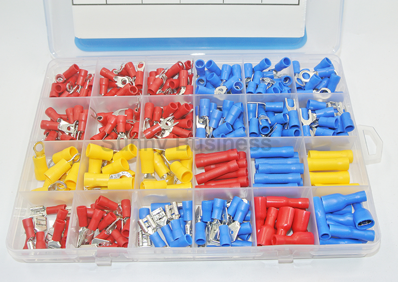 Home Improvement ... Elect. Equipment & Supplies ... 32813550981 ... 3 ... 373Pcs  24value  Assorted Insulated Electrical Wire Terminals Crimp Connector Spade Butt Ring Fork Set #4 to 1/4
