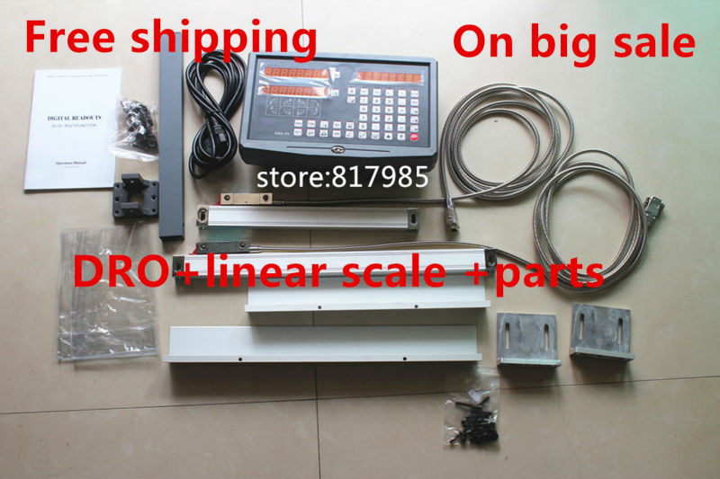 2 Axis DRO digital readout for milling lathe machine with precision linear scale include accessories for