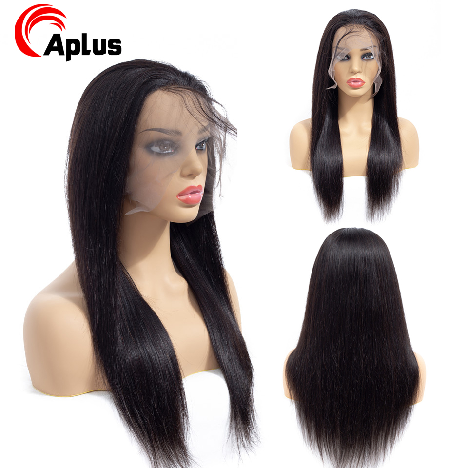 Aplus 360 Full Lace Wig Peruvian Black Wig Straight 360 Lace Frontal Wig Pre Plucked Baby Hair Remy Human Hair Wigs 150 Density