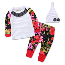 2016Xmas Spring Autumn baby girls christmas outfits children Shirt+Floral pants clothes sets Sport suit clothing set 2pcs H303