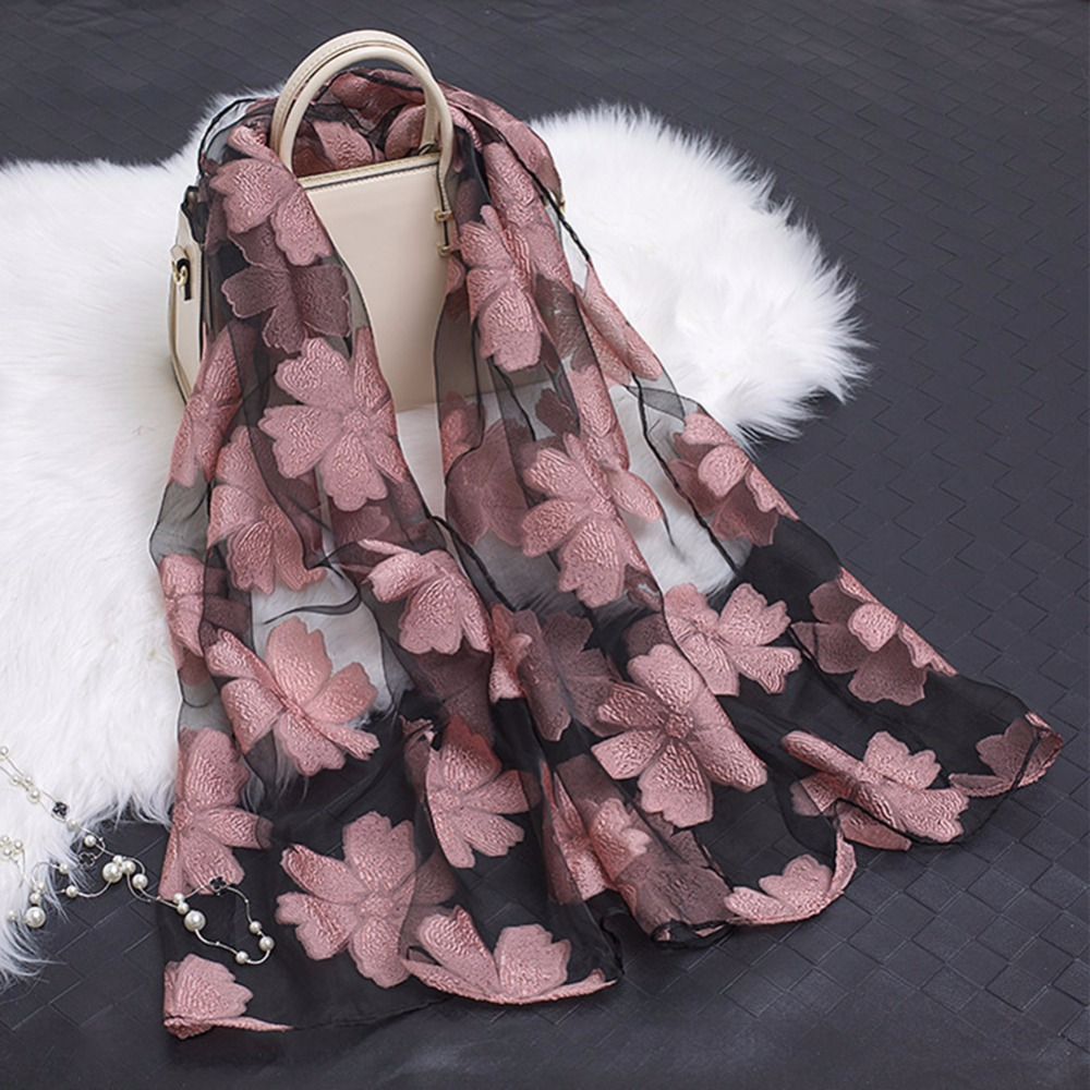 Apparel Accessories Black Lace Fashion Shawl Yarn Scarves Silk Leaf Luxury 1pc Embroidery Popular New Bandana Long Scarf Hijab Women Flowers Organza With The Most Up-To-Date Equipment And Techniques