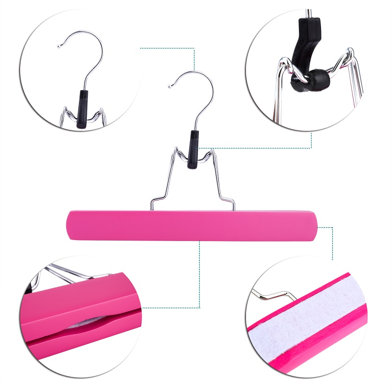 Купить с кэшбэком Hangerlink Pink Wooden Collection Slack Hanger, Wood Skirt Hangers, Hair Extensions Hanger for Virgin Hair (12pcs/Lot)