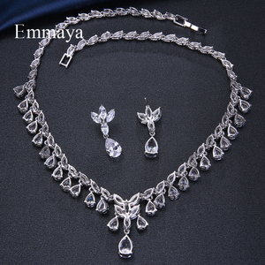 Image 5 - Emmaya Luxury Sparking Brilliant Cubic Zircon Drop Earring Necklace Jewelry Set Wedding Bridal Dress Accessories Party