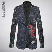 VAGUELETTE Fashion Mens Suits Blazers Printed Stage Singer Costumes Slim Fit Blaser Hombre Stylish For Men 2019 M-4XL