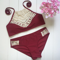 NEW Split Wine Red Swimwear Crochet Lace High Neck Cut Bikini Set Biquinis Feminino 2016