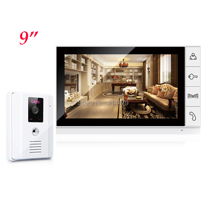 Big 9 inch Color TFT LCD Monitor Video Door Phone Doorbell Intercom System 700TVL Night Vision Camera For Home Security tmezon 4 inch tft color monitor 1200tvl camera video door phone intercom security speaker system waterproof ir night vision 1v1