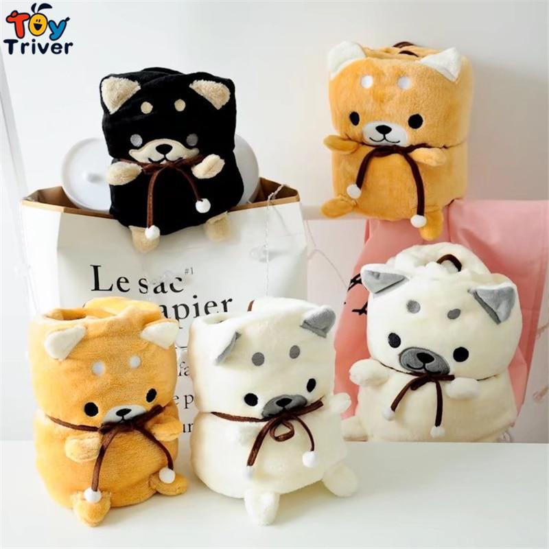 Shiba Inu Cão Cobertor Portátil Crianças Bebê Chuveiro Dom Escritório Cochilo carro Filhote de Cachorro do animal de Estimação Brinquedo de Pelúcia Tapete Do Quarto Decor Gota grátis