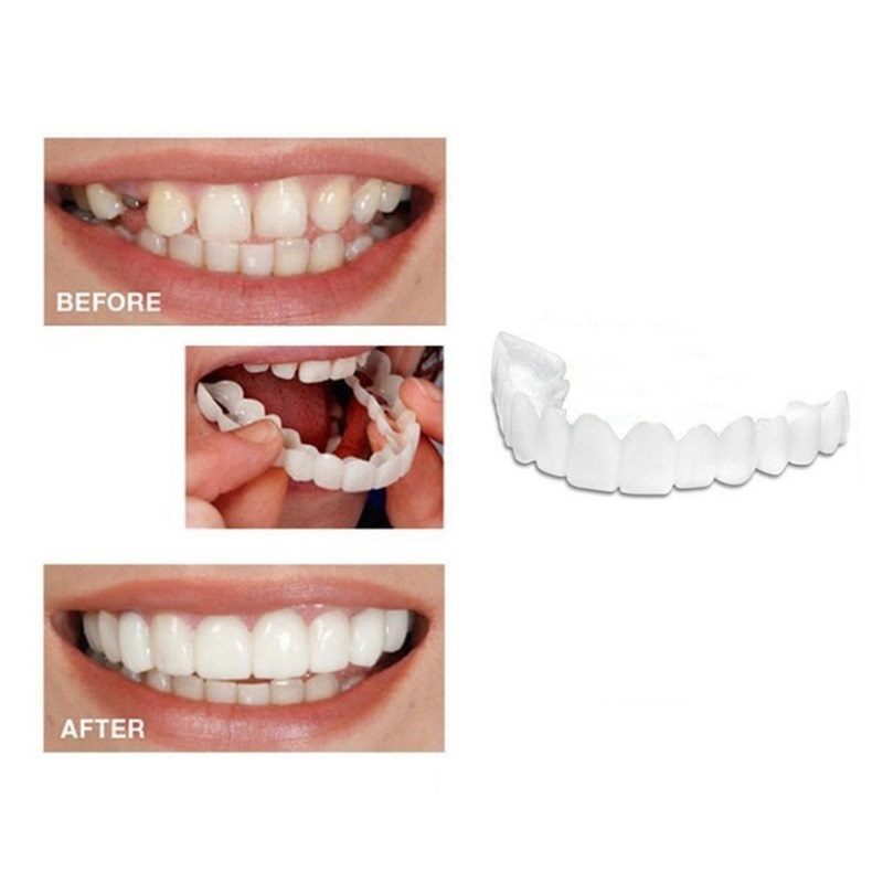Drop Ship Smile Maker Fit Flex Teeth with Box Fits Snap on Smile False Teeth Upper Fake Tooth Cover Perfect Smile Veneers TSLM2