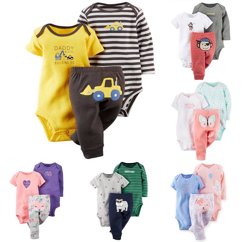 Baby Boy Girl Clothes Letter Animal Long Sleeve Romper+Short Sleeves Pajamas+infant Pants 3PC Newborn Baby Clothing Sets baby boy clothing ins baby girl long sleeved top t shirt pants cartoon penguin sheep newborn infant toddle clothes sets