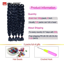 Wignee Pure Color Synthetic Jumbo Braid Hair Extensions 41″ 165g Natural Black/Brown/Purple Crochet Twist Braids Hair For Women