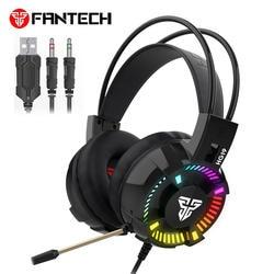 Fantech HG19 Стерео Игровые наушники с микрофоном светодиодный свет для компьютерных ПК Игр проводные наушники бас USB игровая гарнитура для PS4