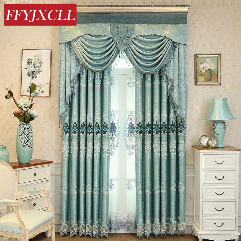 Flannel Cloth Jacquard Embroidered Blackout Curtains Tulle For Living Room Bedroom Kitchen Curtains Valance Drapes Home Decor