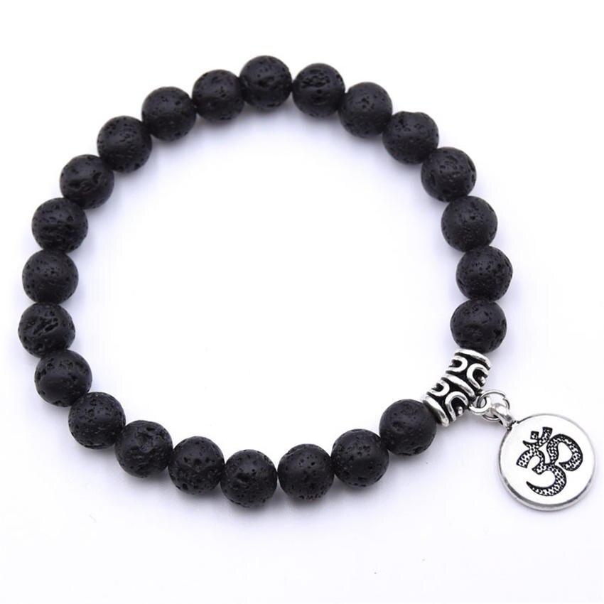 Natural Stone Strand Bracelet Yoga Chakra Mala Bracelet OM Lotus Women Men Beaded Charm Bracelet Jewelry Pulseras dropshipping - Окраска металла: ZT110-4