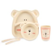 5pcs Baby Bamboo Fiber Tableware Children Cartoon Animal Separation Plate Bowl Fork Spoon Cup Set Kids Feeding Supplies Plate