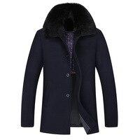 Новый длинный меховой воротник Для мужчин зимние шерстяные пальто толстые теплые качество темно-Темно-синие Тренч Для мужчин
