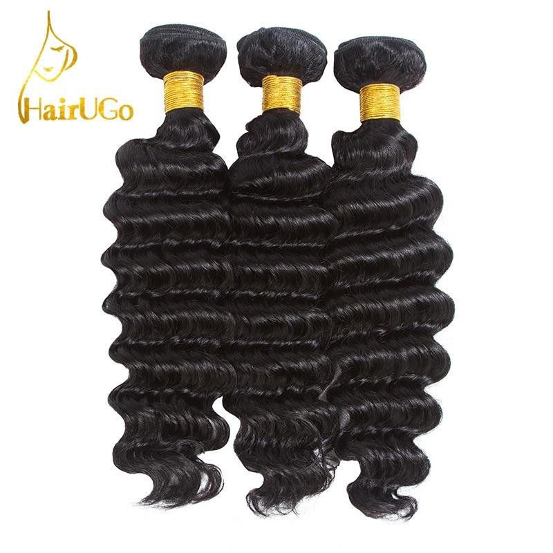 HairUGo Hair pre-colored Peruvian Hair Deep Wave 3 Bundles #1b Color Human Hair Non Remy Hair Weaving Free Shipping