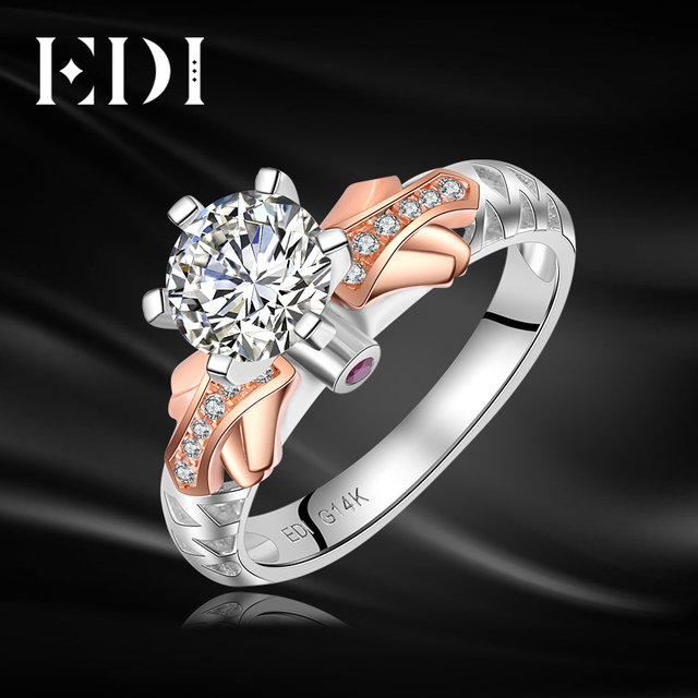 EDI Luxury 1ct Moissanite Diamond 14k 585 Rose White Gold Ring For     EDI Luxury 1ct Moissanite Diamond 14k 585 Rose White Gold Ring For Women  Ruby Engagement Rings
