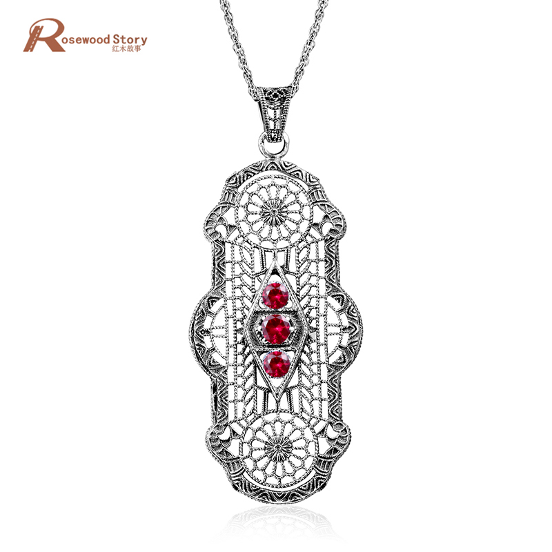 Hot Sale 925 Sterling Silver Wedding Pendant Necklaces Red