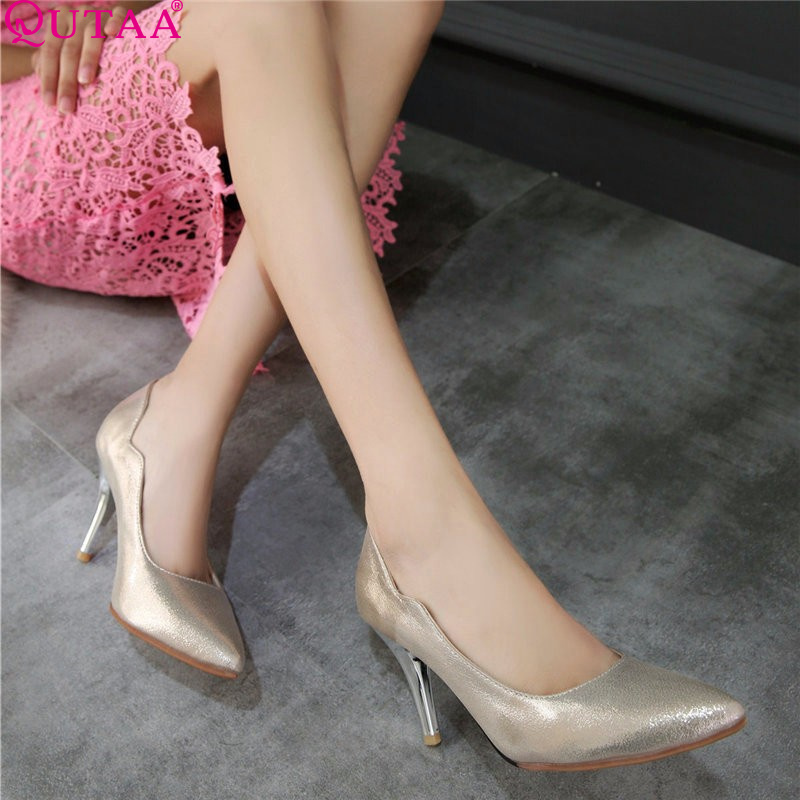 ФОТО QUTAA Blue Elegant Ladies Summer Shoe Thin High Heels PU leather Woman Pump Silver Women Wedding Shoe Size 34-43