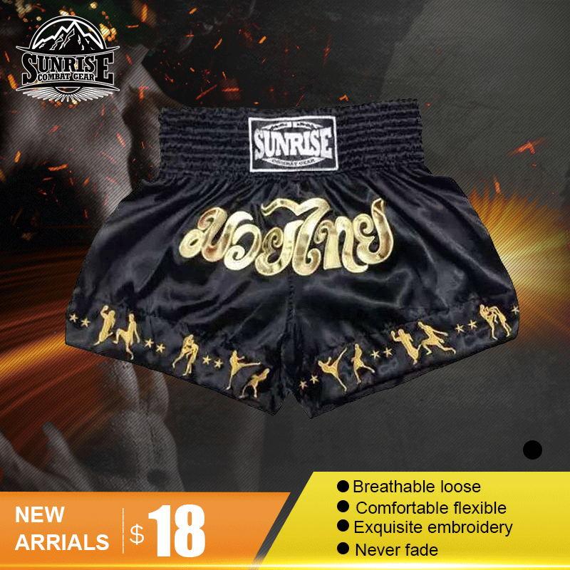 Prix pour Lever du soleil mma shorts grappling ufc kick boxe court hommes muay thai pantalon gym wear thai shorts de boxe