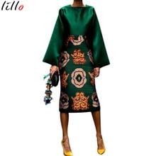 2019 fashion womens dress suit retro ladies clothing pattern printing set European and American popular models
