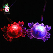 48pcs/lot LED Glowing Crab Cartoon Necklace Flashing Light-up Toys Kids Birthday Festival Party Decors Take-home Favors