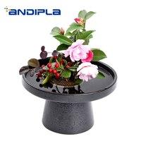 Vintage Flower Pot Ceramic High Feet Flower Arrangement Hold Vase Art Vases / Table Bonsai Decor / Home Fruit Plate Pastry Dish