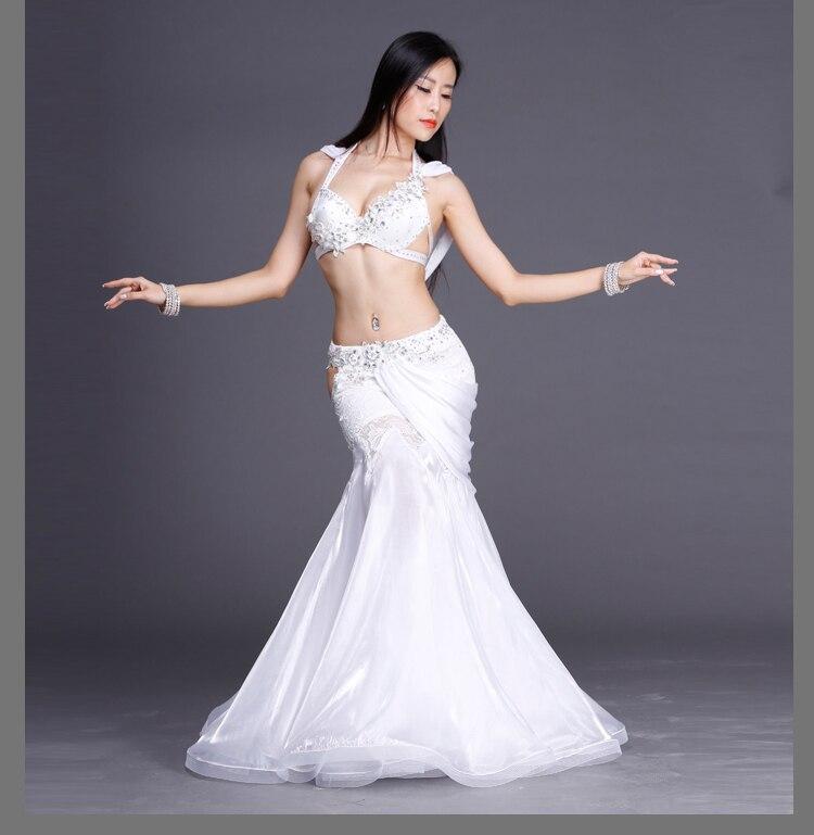 Rhinestones crystal belly dance suits women performance show belly dance set senior 2pcs handmade belly dance