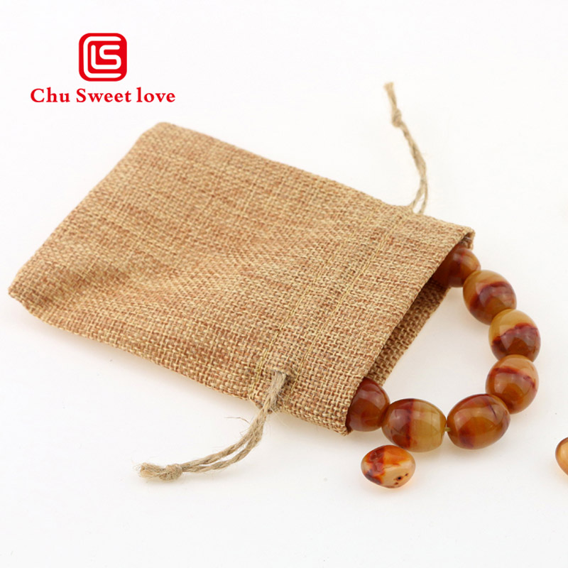 9*12cm Linen Jute Small Gift Drawstring Bags Sacks Party Favors Packaging Bag Wedding Candy Jewelry Draw Pocket 10pcs