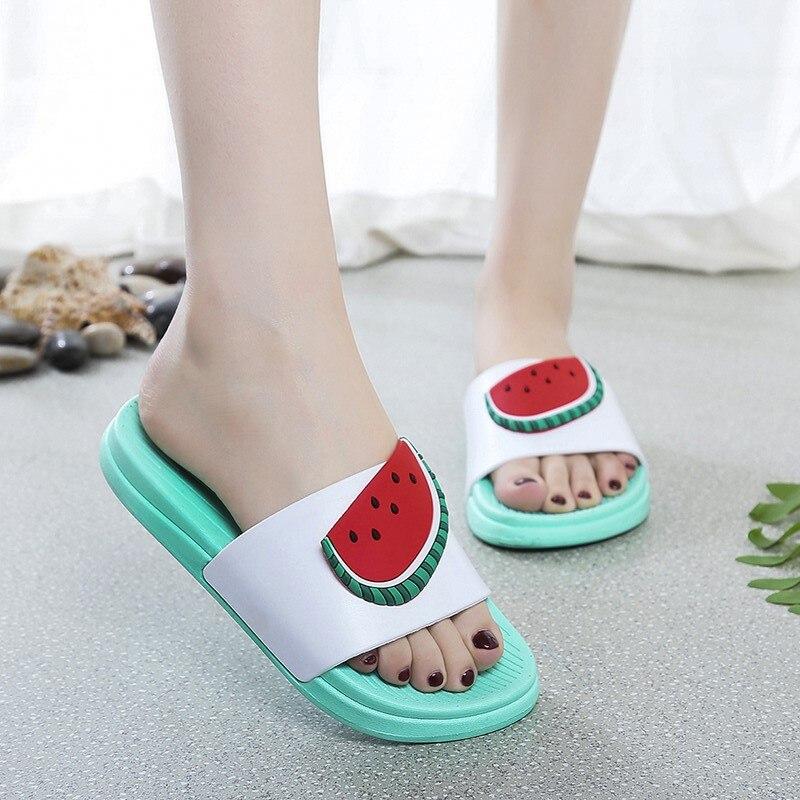 For What Reason Cartoon Fruit Women Slippers Watermelon Banana Home Slippers Summer Sandals Slides Flip Flops