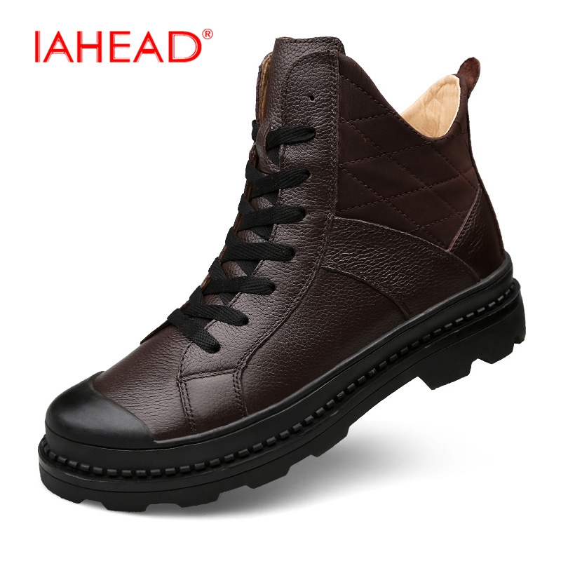 Men Boots Genuine Leather Shoes Men Fluff Warm Snow Boots Winter Shoes Men Tactical Boots Rain Shoes Men botas hombre MH548 martin winter boots for men and men s winter snow boots warm cashmere waist leather shoes in winter thickening