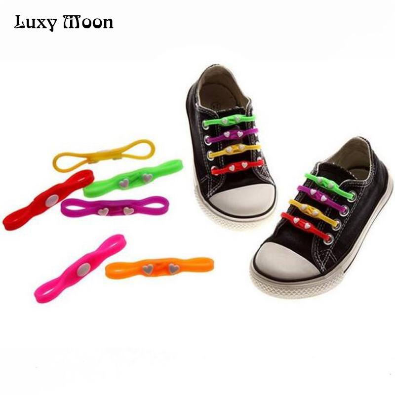 3pairs  New cute heart Children adult No Tie Rubber Elastic Shoelace Sneaker Shoe Laces Running Shoelaces Athletic Shoe laces jup 50 pairs sneaker shoelaces skate boot laces outdoor sport casual multicolor bumps round shoelace hiking slip rope shoe laces