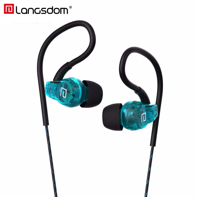 Langsdom SP80A Sport Headphone with Mic 3.5mm Ear Hook Stereo Headset Hifi In Ear Earphones Earbuds for Phone Xiaomi super bass earphone hifi stereo sound 3 5mm earbuds in ear earphones with mic sport running headset for phone