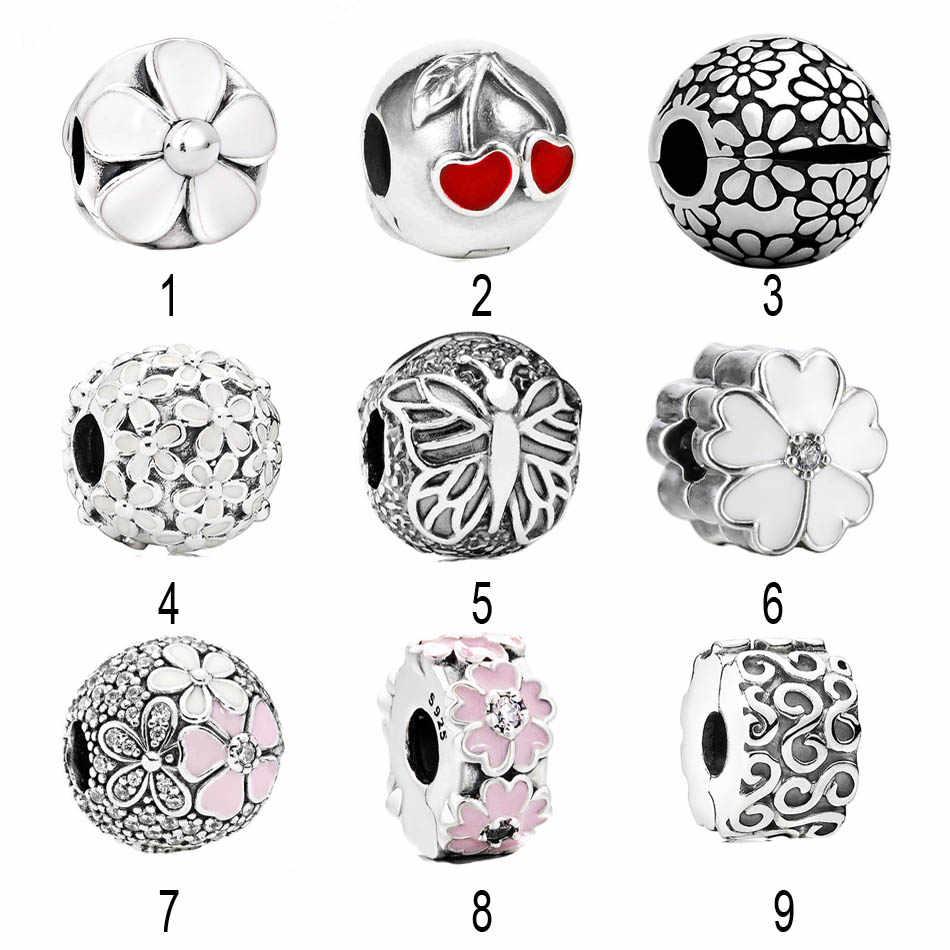 90acd84de 925 Silver Enamel Cherry love Clip Bead Charm fit Pandora Bracelet Bangle  Daisies Flower Stopper Poetic