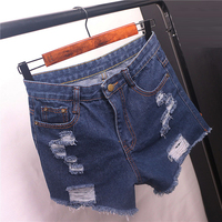 Lady Ripped Short Summer Female Low Waist Denim Shorts Women Worn Burr Hole Jeans Shorts