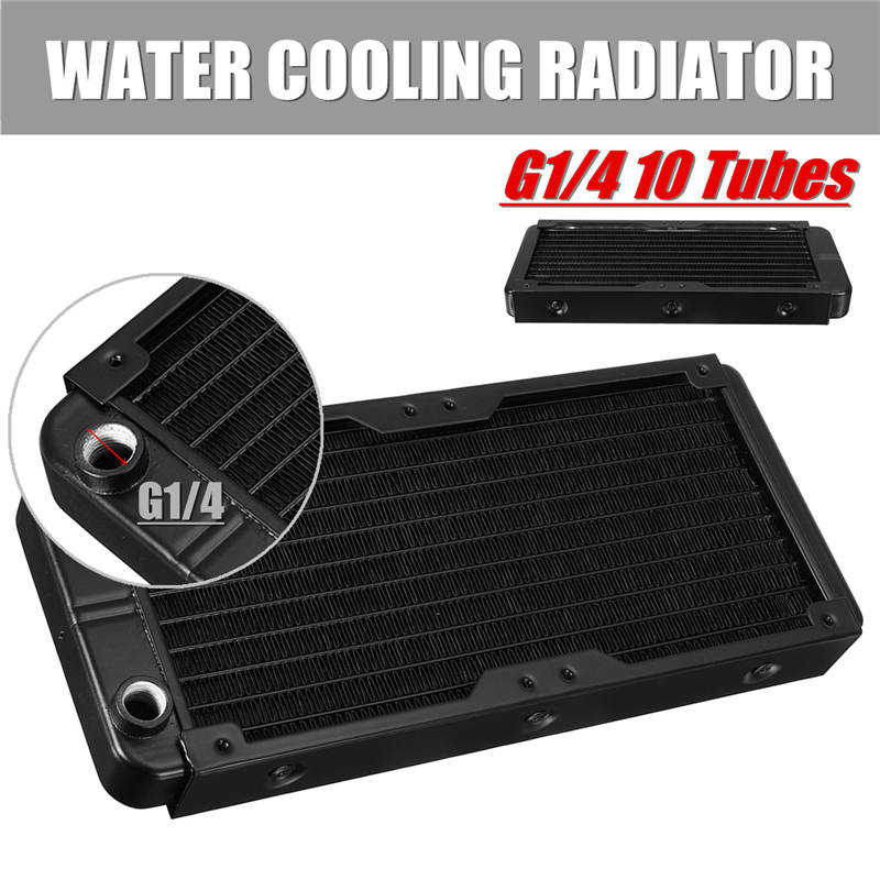 Black Paint Efficient Heat Exchange Water Cooling Radiator 10 Tube Number Vacuum Aluminum Brazing for Computer CPU Cooling synthetic graphite cooling film paste 300mm 300mm 0 025mm high thermal conductivity heat sink flat cpu phone led memory router