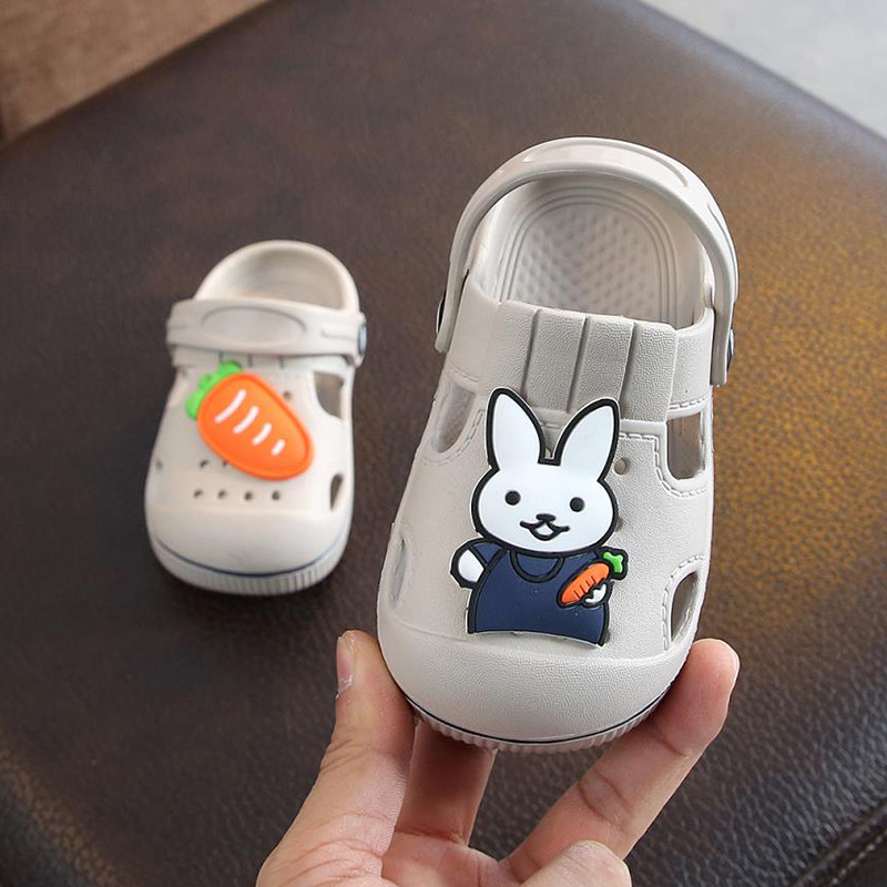 2-5y Kids Mules & Clogs Summer Baby Boys Girls Croc Sandals Flat Heels Rabbit Turnip Slippers Children's Garden Shoes Y17