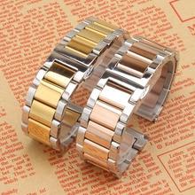 Красочные ремешок Из Нержавеющей стали браслет твердого металла ремешок для часов Бабочка clasp18mm 20 21 22 мм ремешок наручные часы группа